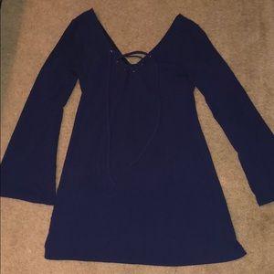 Navy blue tie up dress